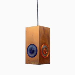 Lámpara colgante rectangular de cobre de Egon Hillebrand para Hillebrand Lighting, años 50