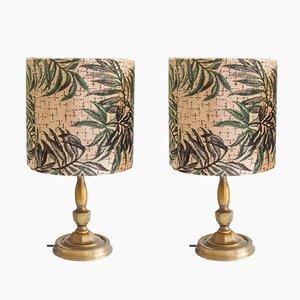 Lampen aus Messing & Samt mit gedrucktem Pflanzenmuster, 1970er, 2er Set