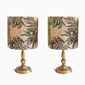 Plant-Print Velvet Brass Lamps, 1970s, Set of 2