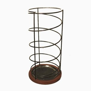 Vintage Metal & Teak Umbrella Stand