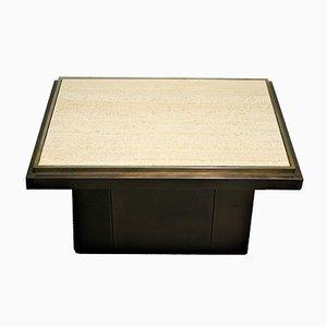 Table Basse Vintage en Travertin de Belgo Chrom, 1970s