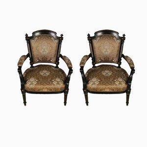 Poltrone antiche Luigi XVI in legno dorato ebanizzato, set di 2