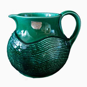 Vintage Green Pitcher from Sarreguemines, 1960s