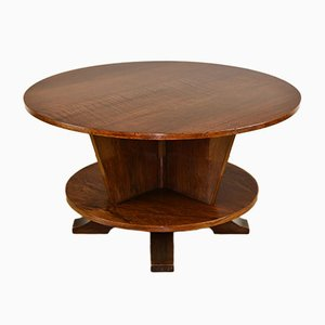 Art Deco Rosewood & Mahogany Revolving Circular Coffee Table, 1930s