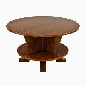 Tavolino da caffè Art Déco rotondo girevole in mogano e palissandro, anni '30