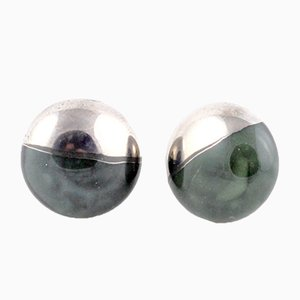 La Traviata Earrings in Dark Green & Platinum by Maria Juchnowska, 2015