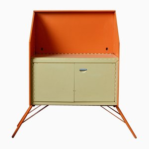 Vintage Orange Foldable Buffet, 1960s