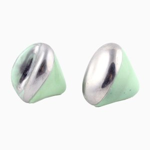 La Traviata Earrings in Green & Silver by Maria Juchnowska, 2015