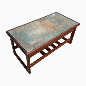 Mid-Century Danish Teak Coffee Table with Tile Top