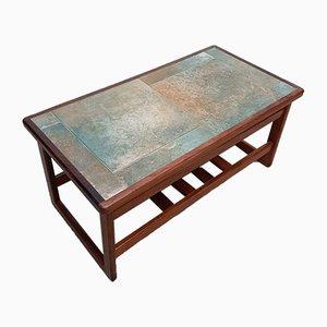Tavolino da caffè Mid-Century in teak con piastrelle sul ripiano