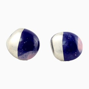La Traviata Earrings in Cobalt, Lilac & Platinum by Maria Juchnowska, 2015