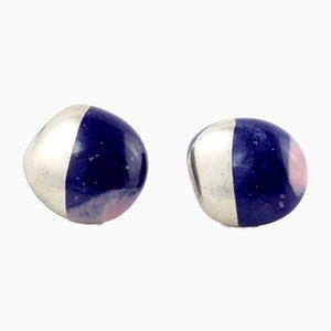 La Traviata Earrings in Cobalt, Lilac & Platinum by Maria Juchnowska, 2015
