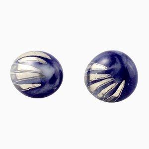 La Traviata Earrings in Cobalt & Platinum by Maria Juchnowska, 2015