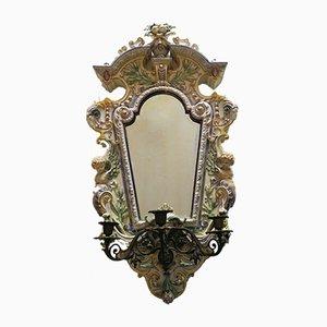 Antiker konischer Spiegel mit Rahmen mit Kerzenhalter von Hugo Lonitz