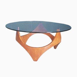 Table Basse Biomorphique Vintage en Teck par Henry P, 1960s