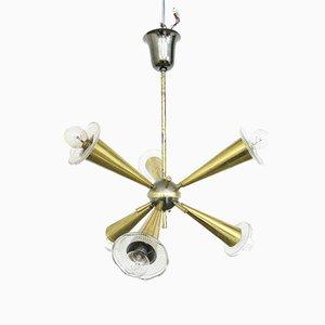Lámpara de araña Sputnik francesa vintage, años 50
