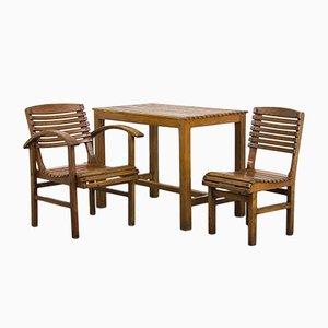 Vintage Beech Chairs and Table Set