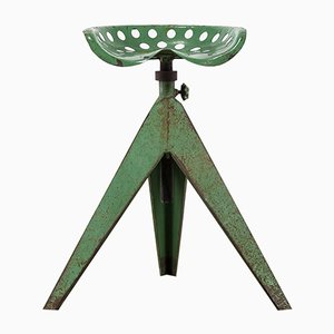 French Industrial Tractor Tripod Stool, 1950s
