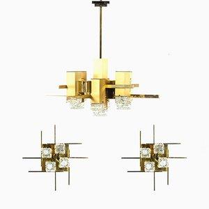 Lámpara de techo y dos apliques de Gaetano Sciolari, años 70