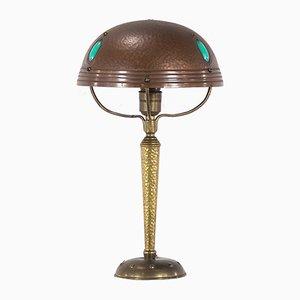 Antike Tischlampe aus Kupfer im Jugendstil
