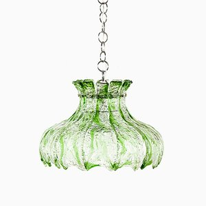 Green Glass Pendant Lamp, 1970s