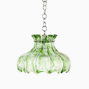 Lámpara colgante de vidrio verde, años 70