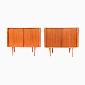 Danish Teak Record or Bar Cabinets by Kai Kristiansen for FM Møbler, 1960s, Set of 2