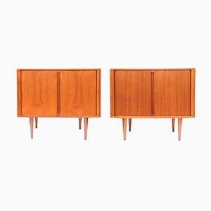 Danish Teak Record or Bar Cabinets by Kai Kristiansen for FM Møbler, 1960s, Set of 2
