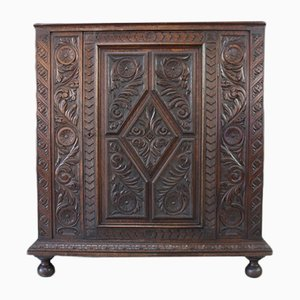 Antique Carved Oak Cupboard