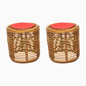 Mid-Century Cylindrical Wicker Stools, 1960s, Set of 2