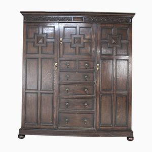 Large Dark Oak Triple Wardrobe, 1920s