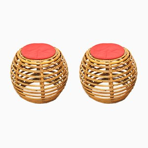 Mid-Century Wicker Stools by Franco Albini for Vittorio Bonacina, 1960s, Set of 2