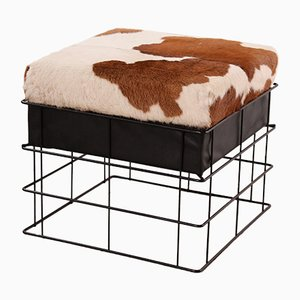Vintage Cow Hide Stool, 1960s