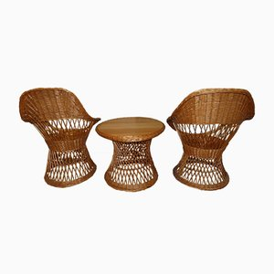 Vintage Wicker Living Room Set, 1970s