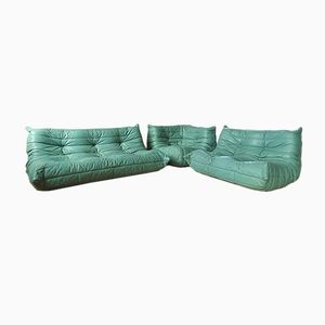 Togo Leather Sofa Set by Michel Ducaroy for Ligne Roset, 1970s