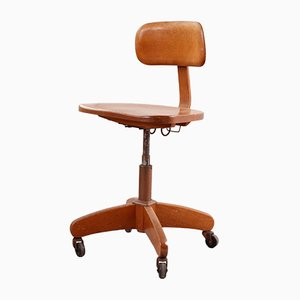 Vintage Wooden Federdreh Desk Chair from Martin Stoll, 1950s