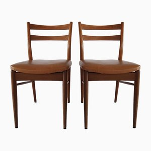 Vintage Wood and Leatherette Chairs, 1960s, Set of 2