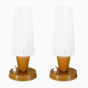 Lámparas de mesa alemana de madera y vidrio opalino, años 60. Juego de 2