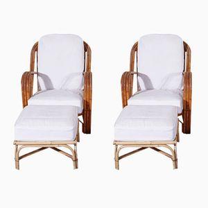 Armlehnstühle aus Rattan mit Fußhockern von Adrien Audoux & Frida Minet, 1960er, 2er Set