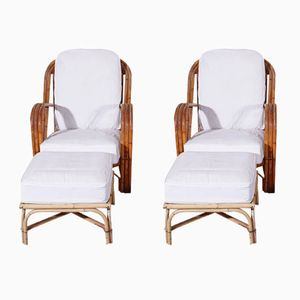 Rattan Armchairs with Ottomans by Adrien Audoux & Frida Minet, 1960s, Set of 2