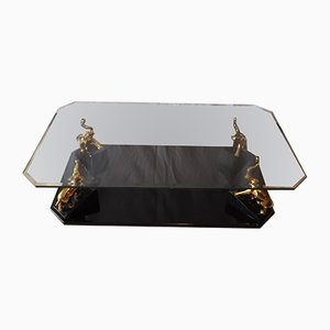 Brass & Glass Elephant Coffee Table, 1970s