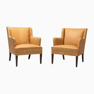 Scandinavian Modern Leather Bergere Chairs, 1960s, Set of 2