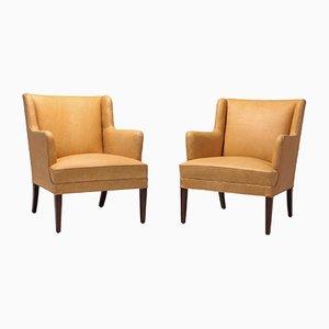 Scandinavian Modern Leather Bergere Chairs, 1960s, Set of 2
