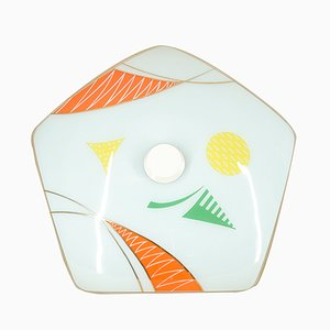 Lámpara colgante en forma de pentágono con motivos abstractos, años 50