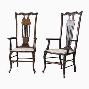 Antike viktorianische Armlehnstühle aus Mahagoni mit Intarsien, 2er Set