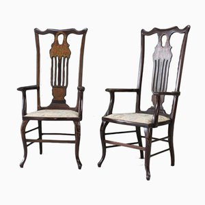 Antique Victorian Inlaid Mahogany Armchairs, Set of 2