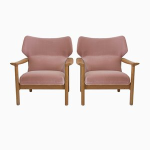 Danish Pink Velvet Armchairs with Oak Frames, 1960s, Set of 2