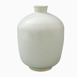 Vintage Bauhaus Ribbed Porcelain Vase from KPM Berlin