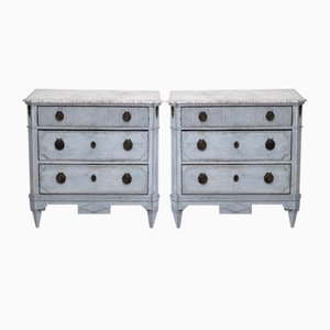 19th-Century Gustavian Chests of Drawers with Faux Marble Tops, Set of 2