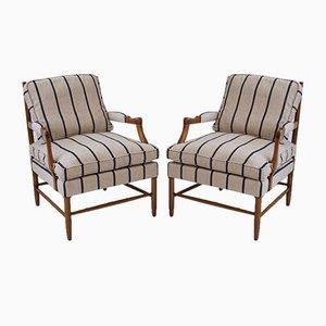 Gestreifte schwedische Mid-Century Armlehnstühle, 1960er, 2er Set